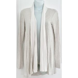 Bobeau Cream White Striped Open Front Cardigan